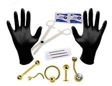 Body Piercing Kit 14G, 16G, 18G Goldtone Belly Button Eyebrow Nipple Jewelry