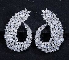 18k White Gold Earrings made w/ Swarovski Crystal Stone Gorgeous Cuff Earrings