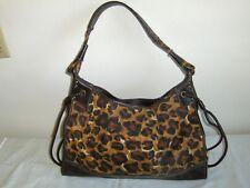 Franco Sarto Hobo Bag Animal Print Purse Tote Shoulder Hand Bag Black and Brown