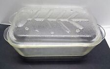 Vintage Heavy Duty Clear Glass Covered Roaster with Carving Lid