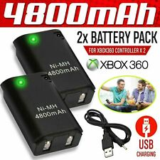 4 Pack Battery Charger Cable for Microsoft Xbox 360 Wireless Controller Black UK