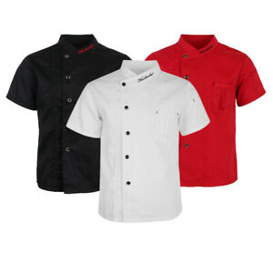 Unisex Short Sleeve Chef Jacket Coat, Solid Color Snap Button Stand-up Collar