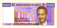 DJIBOUTI 5,000 FRANCS UNC BANKNOTE - 2002 ND ISSUE - PICK #44 --- [164]