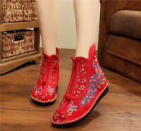 New Womens Embroidery Shoes Chinese Floral Cloth Boots Folk Dance Flats Casual