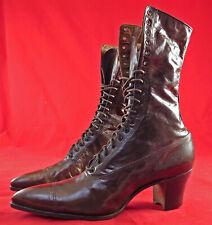 Unworn Edwardian Antique Dark Brown Leather High Top Lace-up Cube Heel Boots Vtg