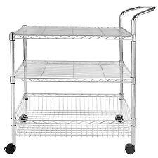 3-Tier Wire Rolling Kitchen Utility Cart Trolley Rack Food Service w/handle