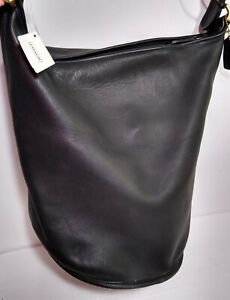 Coach Vintage Duffle Sac XL Black NEW 9085 Leather Shoulder Bucket Bag Purse