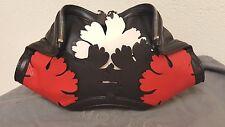 Alexander McQueen De Manta Lotus Flower Appliqued Clutch Bag NWT Black/red/white