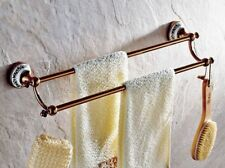 Luxury Rose Gold Copper Bathroom Wall Mounted Double Towel Rail Bar eba382
