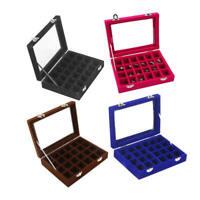 24 Slots Velvet Glass Jewelry Storage Organizer Box Earring Necklace Display yii