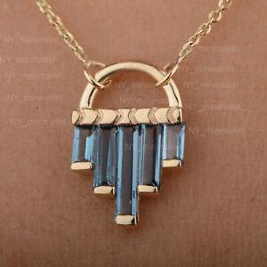 Genuine London Blue Topaz Bar Charm Pendant Necklace Solid 14K Yellow Gold Fine