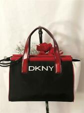 DKNY CITY Black/White/Red Nylon Leather Trims Side Closure Hand Carry On Purse