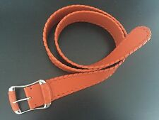 Tod's Women's Orange Leather Belt w/Silver and Woven Accents