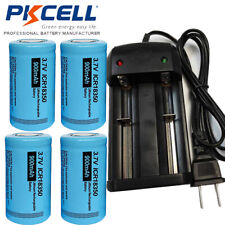 4Pcs ICR18350 900mAh 3.7V Lithium Rechargeable Torch Batteries & Smart Charger