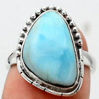 Larimar (Dominican Republic) 925 Sterling Silver Ring s.7 Jewelry 5819