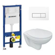 Tiefspül-Wand-WC Set mit WC-Sitz, Geberit UP100 Betätigung Delta51 weiß Toilette