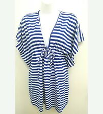 Old Navy Womens XS Swimsuit Cover Top Blue White Striped Low V Neck  B7
