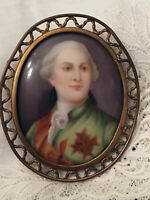 King Louis XVI France Miniature Portrait Hand Painted Porcelain Antique Vtg Rare
