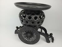 Vintage Antique Large Cast Iron Candle Holder Wagon 3 Piece Decoration Black