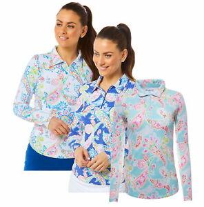IBKUL Sharon Paisley Long Sleeve Zip Polo Navy Seafoam White Golf Tennis UPF 50