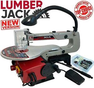 "Lumberjack 16"" Scroll Fret Saw Variable Speed Work Lamp Dust Blower & Blades"