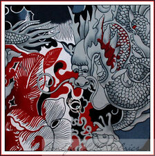 BonEful Fabric FQ Cotton Quilt Black Gray Red Asian Dragon Tattoo Tatsu Chinese