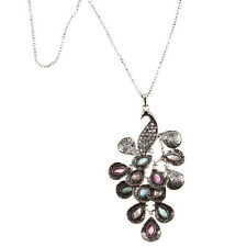 RHINESTONE PEACOCK PASTEL FEATHERS CHARM NECKLACE A1-0009