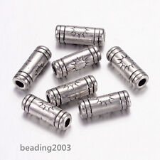 50pcs Tibetan Style Tube Spacer Beads for Jewellery Making Antique Silver 3×9mm