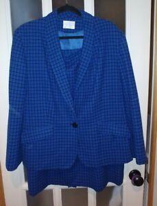 Pendleton Size 18W Blue Black Plaid Suit Skirt Blazer Made In USA