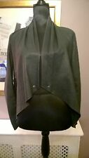WAREHOUSE 12 100% Leather Unlined Raw Edged Press Stud Waterfall Blazer Jacket