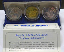 {BJSTAMPS} Legends of Discovery 3 coin Commemorative Set Marshall Islands