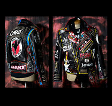 Vintage Punk Studded Painted Leather Jacket Ⓐ Conflict Discharge Class War Hass