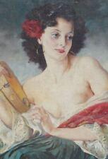 ORIGINAL VINTAGE MARIA SZANTHO ART PAINTING LOVELY WOMAN PORTRAIT NOT PAL FRIED