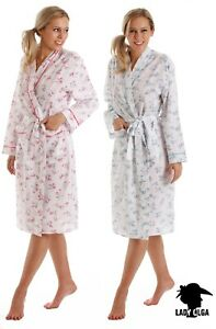 Lady Olga Poly Cotton Lightweight Floral Long Sleeve Wrap Dressing Gown