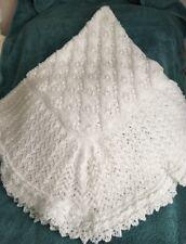 Hand Knitted White Baby Shawl