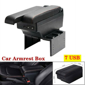 Car Vehicle Telescopic Panel Dual Layer Storage 7USB Charge Central Armrest Box