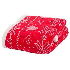 Bergen Noël Couverture Couvre-lit polaire imprimé nordique rouge