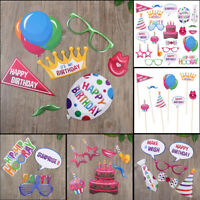 22PCS Happy Birthday Selfie Photo Booth Props Party Photography Game Decorations