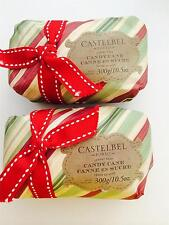 2 Castelbel Scented Bar Soap Wrapped Gift Paper Candy Cane Holiday