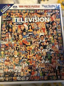 White Mountain Puzzles Television History 1000 Piece Jigsaw Puzzle New Free Ship