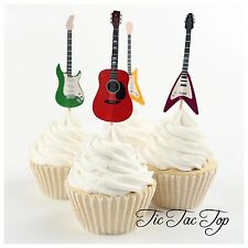 🎸12 x Guitar Musical CUPCAKE CAKE TOPPERS Party Birthday Instrument Music