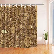 Cartoon Machine Internal Structure Gear Bathroom Shower Curtain Waterproof Hooks