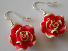 20mm Multicolor White Red Roses Flower Polymer Beads Silver Plated Hook Earrings