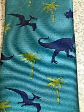 """YOUTH SKINNY 2 1/4"""" LANDS END DINOSAURS PALM TREES POLYESTER TIE NECKTIE BOY'S"""