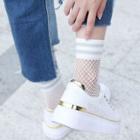 Cute Girls Ruffle Fishnet Ankle High Socks Mesh Lace Fish Net Short Sock