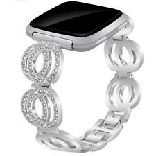 for Fitbit Versa/Versa 2 Bling Steel Metal Bands Bracelet Dressy Strap for Women
