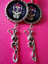 Day Of The Dead Sugar Skull With Skeleton Dangle Charm Earrings #18