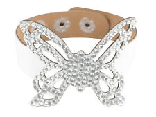 Lady Crystal Rhinestone Studded Butterfly Wing White Leather Wrist Cuff Bracelet