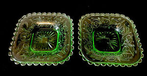 2 Australian Crown Crystal depression glass green butter plates 1930s