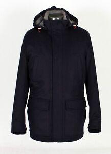 $5495 NWT - BRUNELLO CUCINELLI 100% Cashmere Coat Jacket w/ Hood - Blue 50 M/L